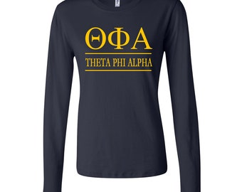Theta Phi Alpha FITTED Long Sleeve Tshirt, TFA Tshirt, Theta Phi Tee, Theta Phi Alpha Tee Shirt, Theta Phi Apparel, Greek Letter Tee