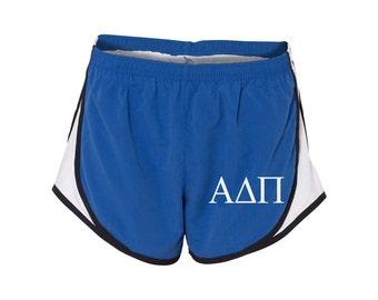 Alpha Delta Pi Shorts, AXO Shorts, Alpha Delta Pi Printed Apparel, ADPi Running Shorts, ADPi shorts, Alpha Delta Pi velocity shorts