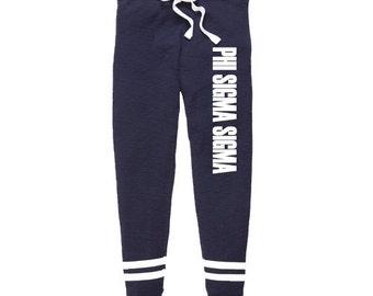 Phi Sigma Sigma Thermal Joggers, Phi Sigma Sigma Sweatpants, Phi Sigma Sigma Apparel, FSS Greek Jogging Pants, Sorority House Sweats