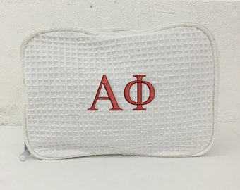 Alpha Phi Waffle Weave Cosmetic Bag, Alpha Phi Sorority Letter cosmetic bag, Officially Licensed Alpha Phi Product