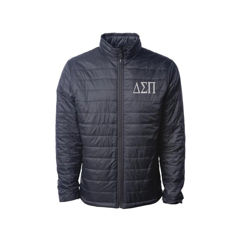 Delta Sigma Pi Fraternity outerwear Delta Sigma Pi Puffy Jacket DSP Puffy Jacket Fraternity Apparel Delta Sigma Pi Men/'s Puffer Jacket