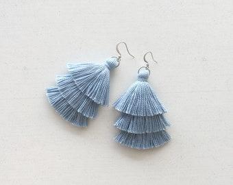 6ebcaa430c6af Blue tassel earrings | Etsy