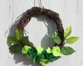 succulent wreath felt wreath succulent decor door wreath home decor twig wreath felt succulent wreath