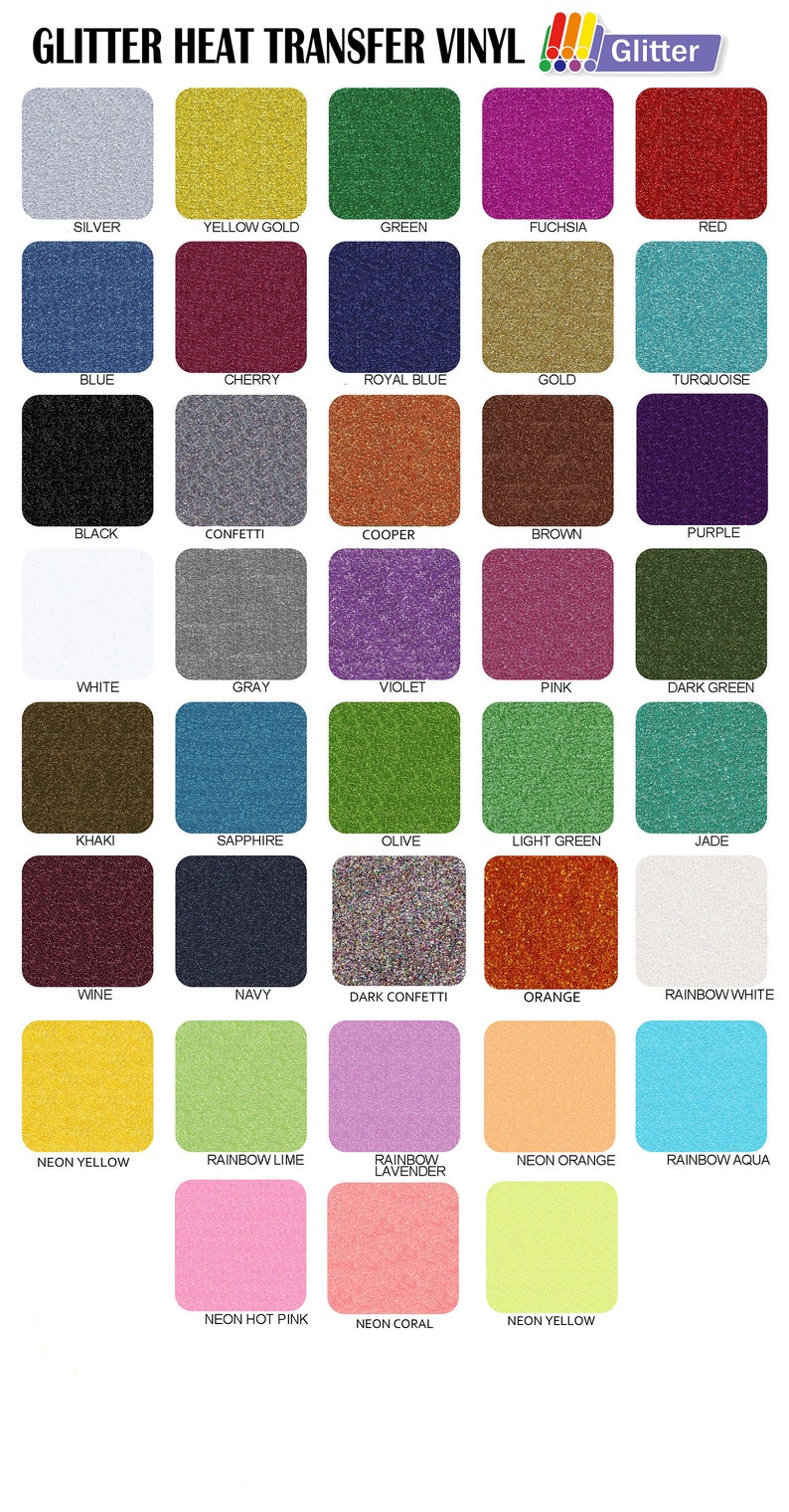 12 x 20 Glitter Heat Transfer Vinyl  37 Colors image 0