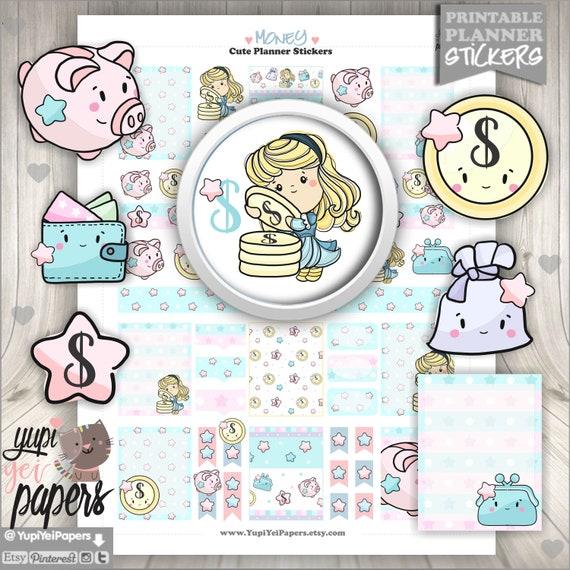 Money Investment Planner Stickers for Erin Condren S044-Piggy Bank,Saving