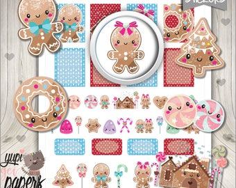 Gingerbread Stickers,  Planner Accessories, Christmas Stickers, Printable Stickers, Christmas Planner Stickers, Digital Stickers