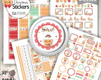 Gingerbread Stickers, Christmas Stickers, Digital Stickers, Stickers Sheets, Sticker Pack, Stickers Planner, Gingerbread Decor, Stickers