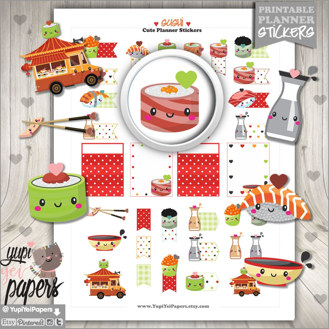 sushi stickers planner stickers cute stickers food truck | etsy