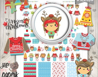 Christmas Stickers, Planner Stickers, Planner Accessories, Winter Stickers, Sweater Stickers, Printable Planner Stickers, Reindeer Stickers