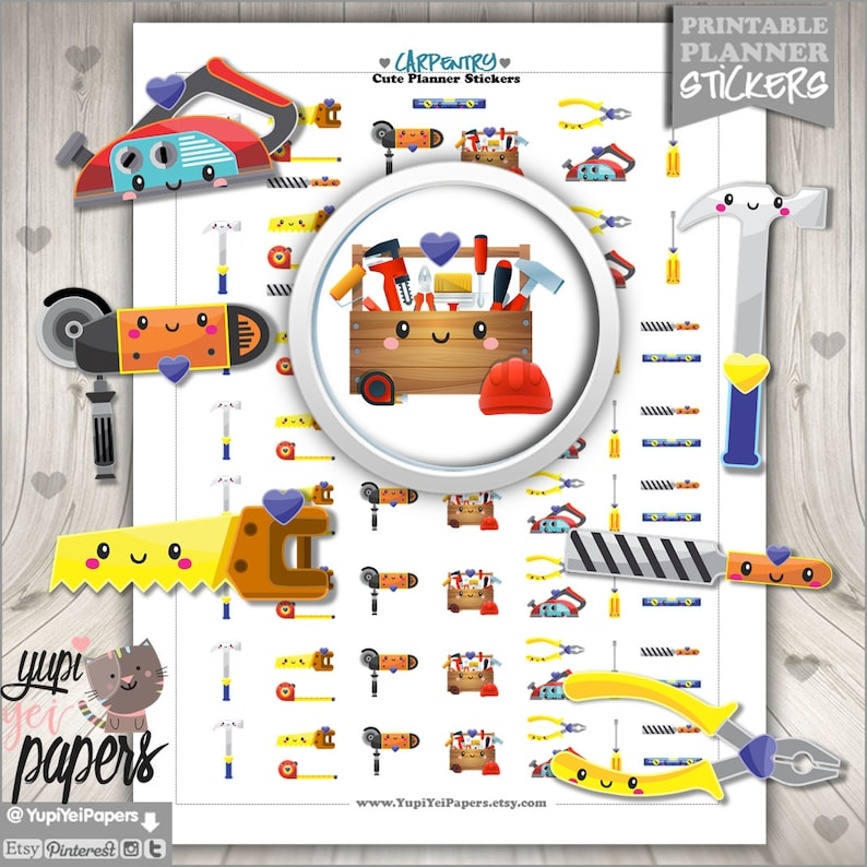 Carpentry Stickers Planner Stickers Printable Planner image 0