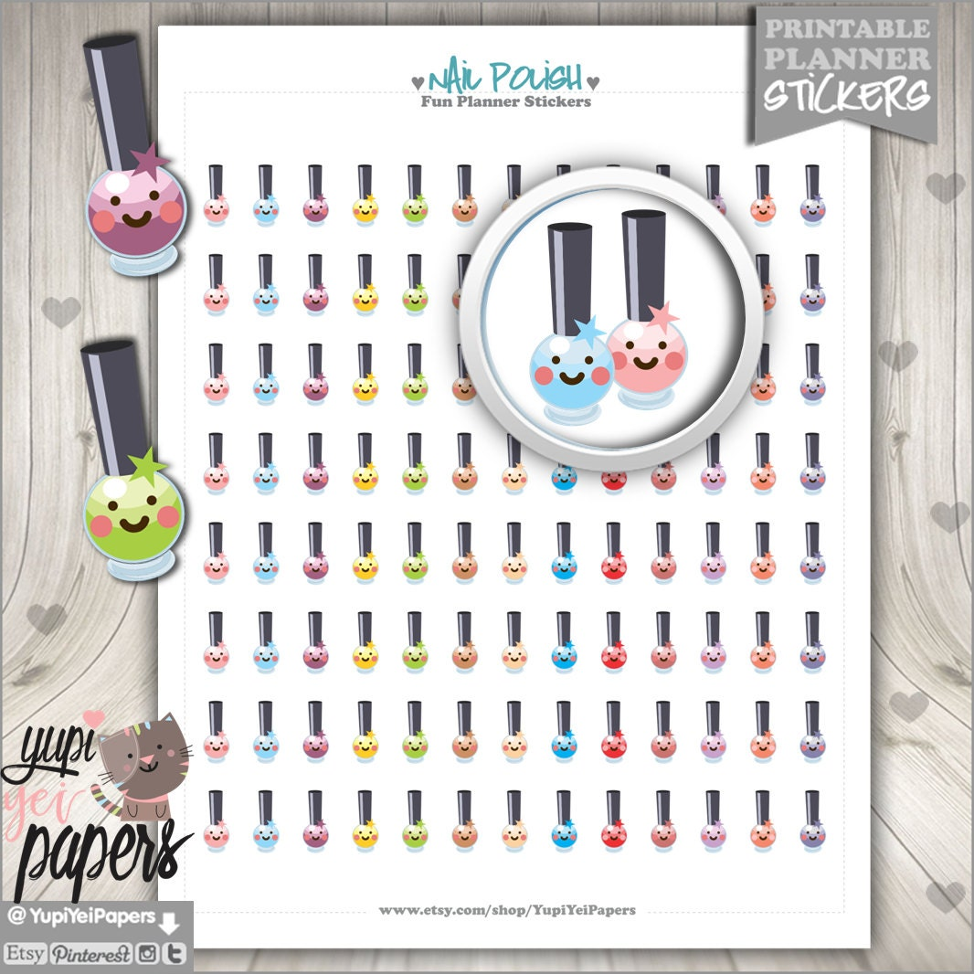 Nail Polish Stickers Printable Planner Stickers Planner