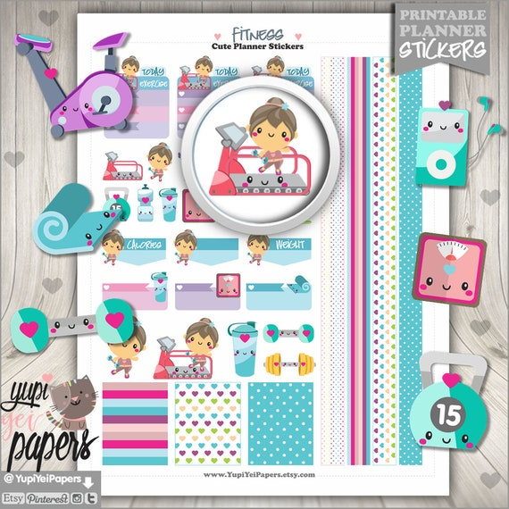Fitness Stickers Planner Stickers Spinning Stickers Use In Etsy