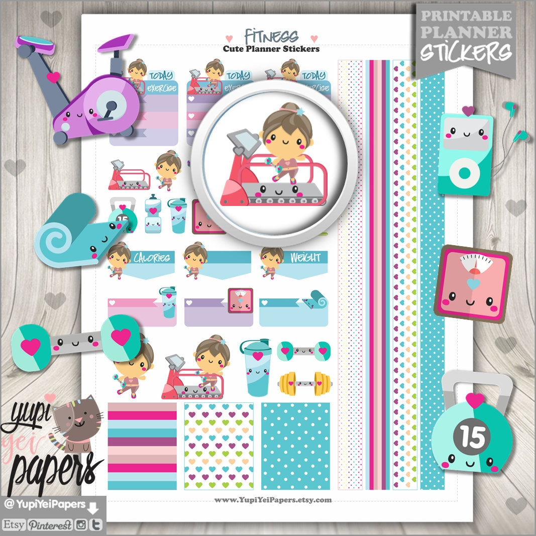 fitness stickers planner stickers spinning stickers use in | etsy