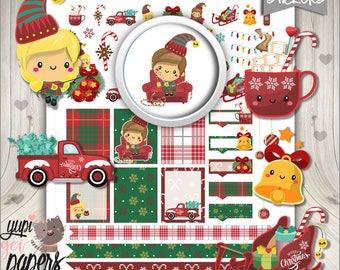 Christmas Stickers, Christmas Planner Stickers, Printable Planner Stickers, Planner Stickers, Tartan Stickers, Classic Christmas