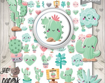 Cactus Stickers, Planner Stickers, Printable Planner Stickers, Succulent Stickers, Cute Stickers, Planner Accessories, Stickers