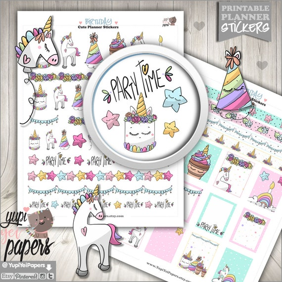 unicorn stickers printable planner stickers birthday etsy