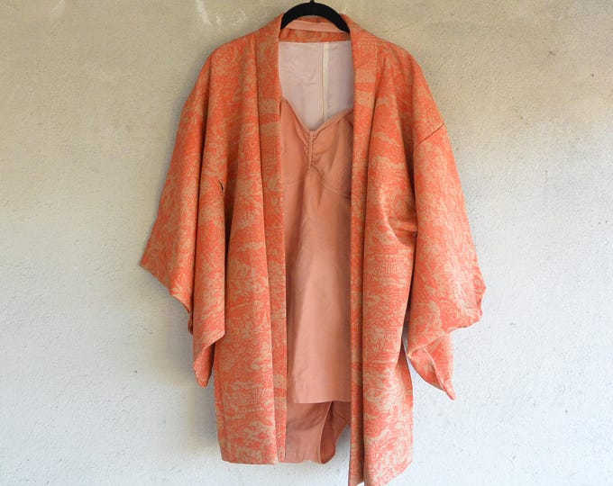 Featured listing image: Vintage Haori jacket in orange silk