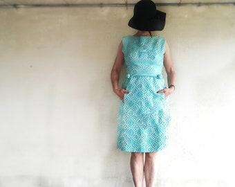Suzy Perette Vintage Dress/ Light blue brocade Suzy Perette vintage Dress/ 60's Suyi Perette Vintage dress