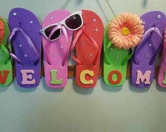 c727c2967 Flip flop wreath. Door hanging. Flip flops welcome sign. Summer.