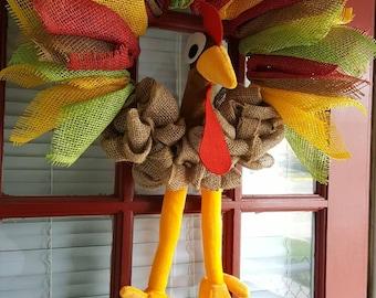Turkey wreath. Thanksgiving Turkey. Thanksgiving wreath. Fall Turkey. Turkey with legs. Turkey wreath with legs.