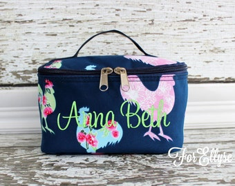 Rooster Cosmetic Bag - Personalized or Monogrammed Chicken make up tote