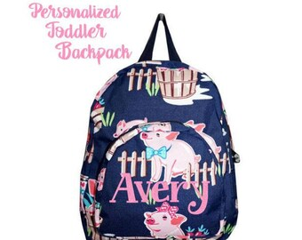 Pink Piglet Toddler Backpack - Personalized school bag