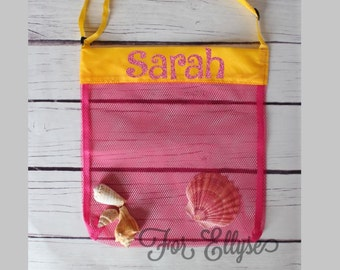 PINK with YELLOW Personalized Seashell bag - mesh beach tote