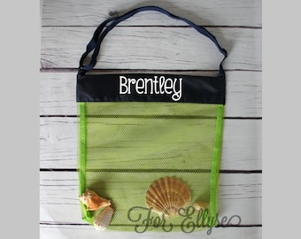 GREEN with NAVY Personalized Seashell bag - mesh beach tote