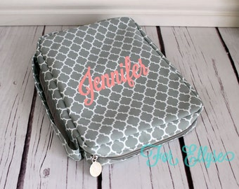 Gray Quatrefoil Bible Carrying Case - soft sided Bible cover
