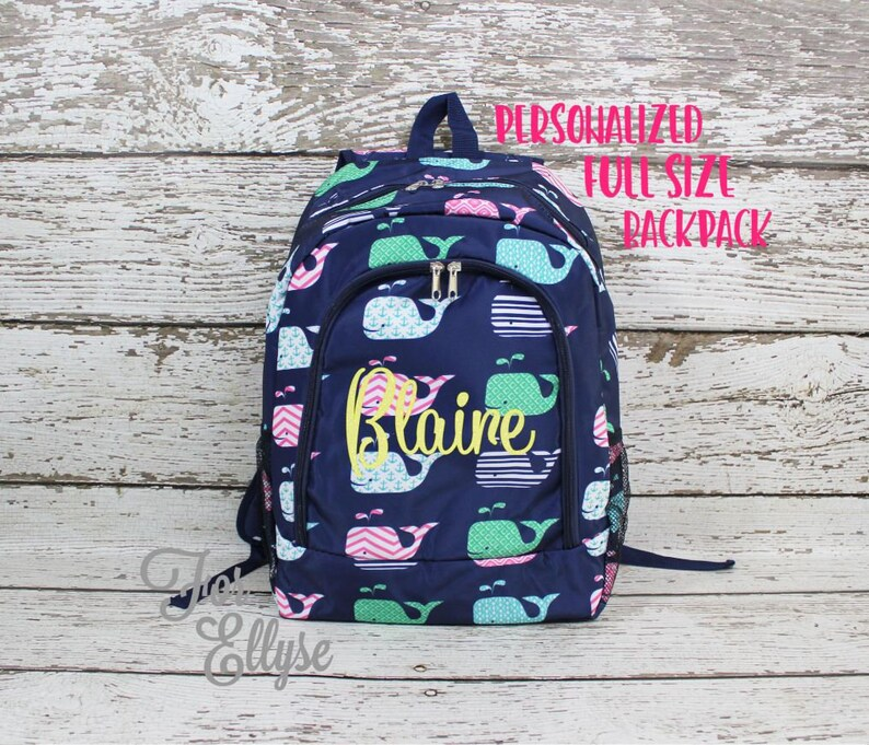 Whale Monogrammed Zipper Tote Many Colors Available