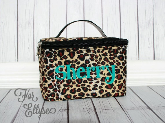 1d02bc6d52ac Leopard Cosmetic Bag Personalized or Monogrammed animal