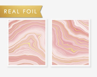 Set of 2 Dusty Rose Agate Wave with Gold Foil Art Print