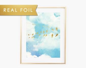Birds on a wire Foil Art Print 11x14, 8x10, 5x7