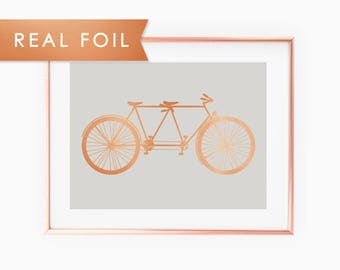 Tandem Bike - Copper & Gray Art Print