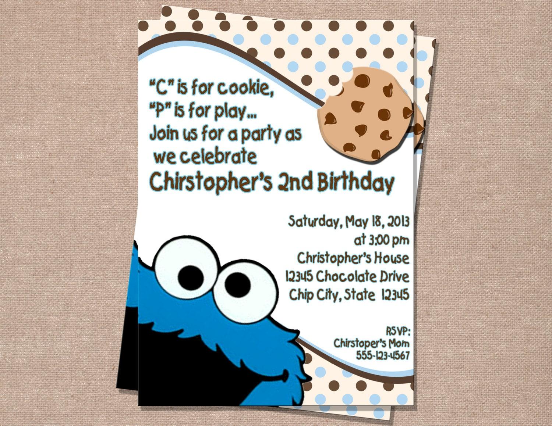 Cookie Monster Invitation Cookie Monster Birthday Cookie | Etsy