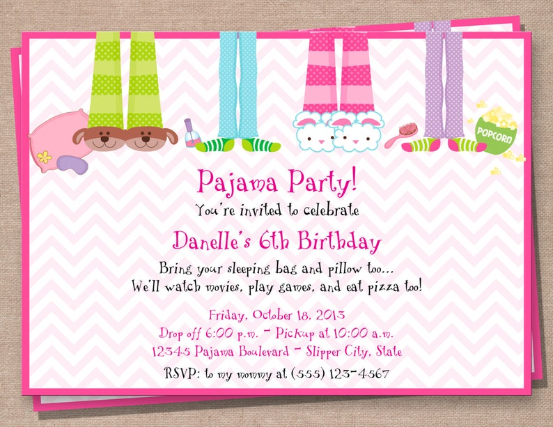 Pajama Party Invitation Sleepover Birthday