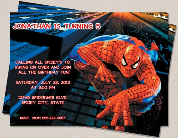 Spiderman Inspired Birthday Invitation