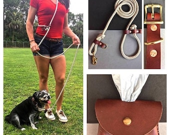 BestFriend Hands Free Leash Brown Tan and White/Brown Collar/Brown Bag Holder Combo