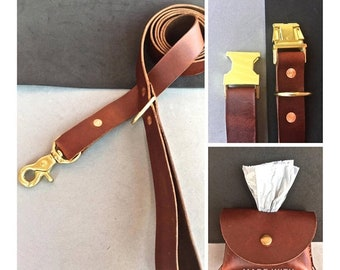 BestFriend The Brown Leather Side Release Collar/Brown Leash/ Brown Bag Holder Combo