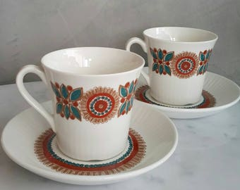 "Figgjo Flint Norway Coffee Cup with Saucer Set ""Astrid"" Pattern. Designed by Turi Gramstad Oliver at 1960s"