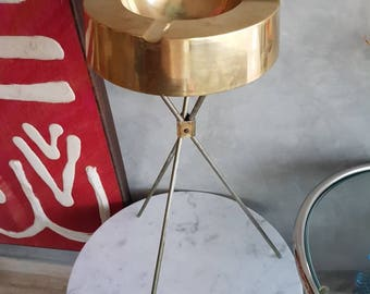 Mid Century Modern Ashtray Brass with Stand.