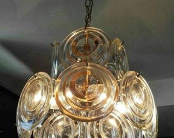 Vistosi Chandelier Gold and Murano Glass 1960's