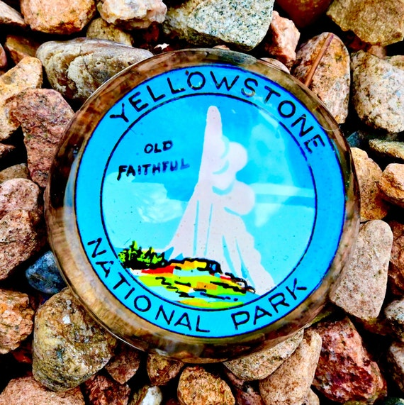 Yellowstone Park Glass Paperweight