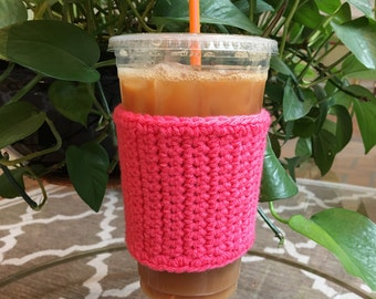 Crochet Coffee Sleeve in Hot Pink - Crochet Coffee Cozy - Coffee Cozy - Coffee Gift - Coffee Cup Cozy - Reusable Coffee Sleeve