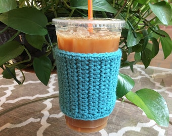 Crochet Coffee Sleeve in Teal - Crochet Coffee Cozy - Coffee Cozy - Coffee Gift - Coffee Cup Cozy - Handmade - Reusable Coffee Sleeve