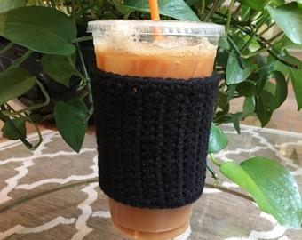 Crochet Coffee Sleeve in Black - Crochet Coffee Cozy - Coffee Cozy - Coffee Gift - Coffee Cup Cozy - Reusable Coffee Sleeve