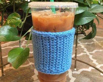 Crochet Coffee Sleeve in Sky Blue - Crochet Coffee Cozy - Coffee Cozy - Coffee Gift - Coffee Cup Cozy - Reusable Coffee Sleeve