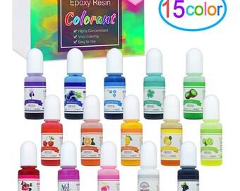 NEW Best Price! 15 Colors Epoxy Resin Pigment, Translucent Liquid Resin Colorant Each 0.35oz (10ml), Non-Toxic Epoxy Resin Dye - FAST SHIP!