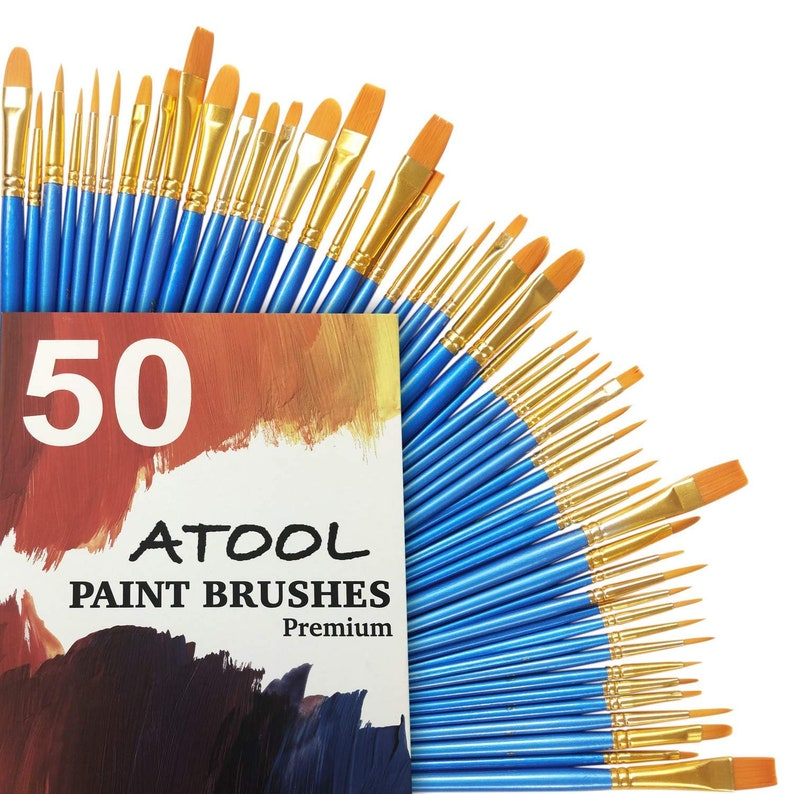 NEW Best Price Acrylic Paint Brush Set 5 Packs / 50 pcs image 0