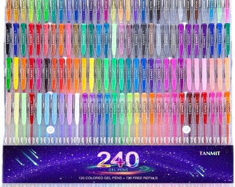 NEW Best Price! Tanmit 240 Gel Pens Set 120 Colored Gel Pen plus 120 Refills for Adults Coloring Books Drawing Art Markers - FAST SHIPPING!!